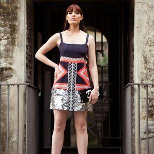 SASS & BIDE Sheer Geometrics Kapow Silk Sequin Mini Slip Dress RRP$590